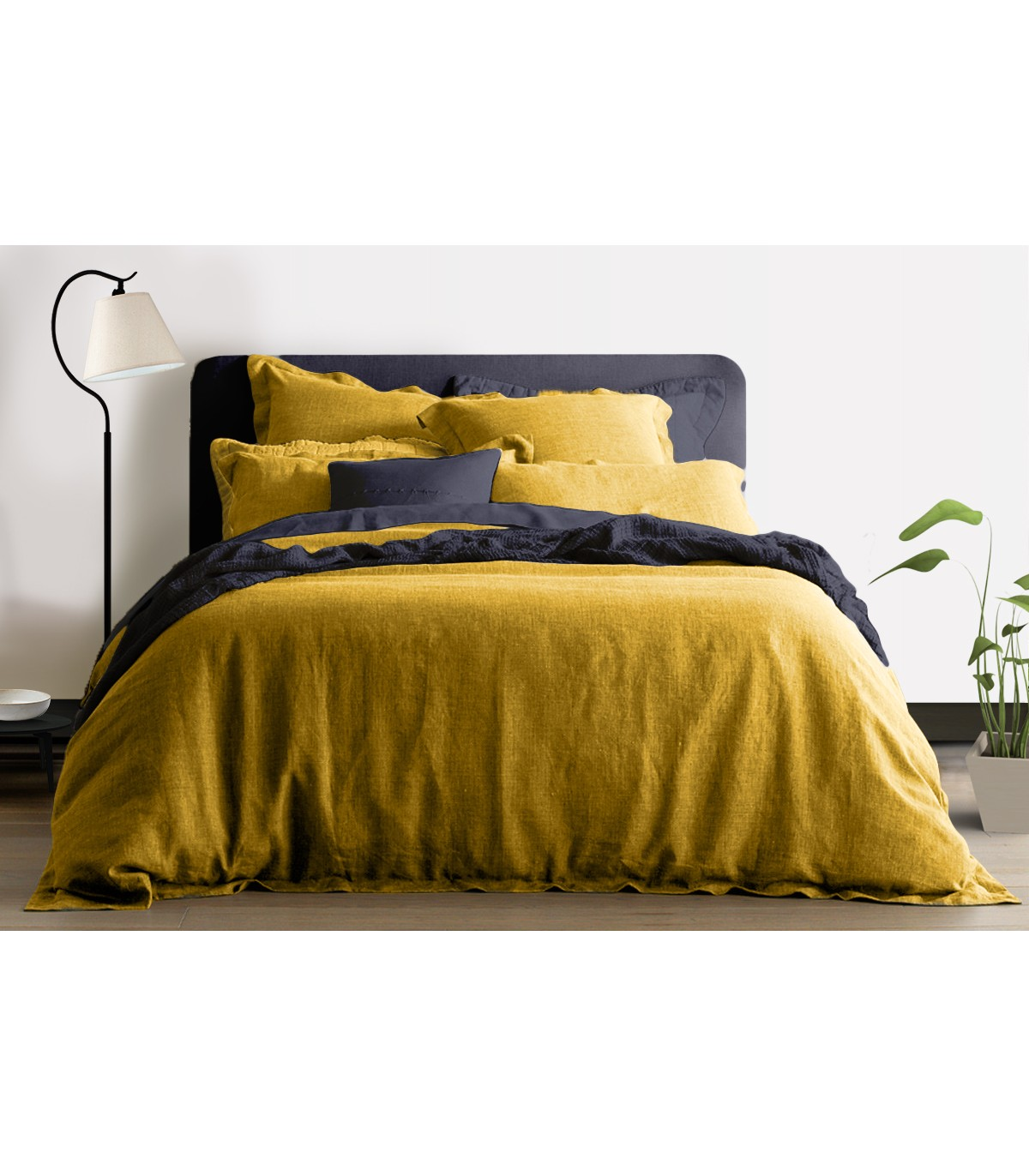 housse de couette 100 lin jaune moutarde my little bed. Black Bedroom Furniture Sets. Home Design Ideas