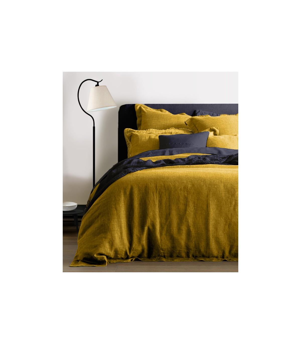 housse de couette  100 lin  jaune moutarde  my little bed