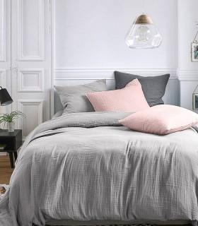 Parure de lit en Gaze de coton Amande