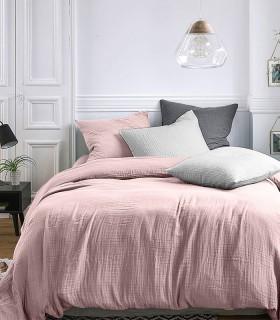 Parure de lit en Gaze de coton Rose