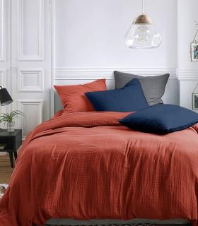 Parure de lit en Gaze de coton Ocre