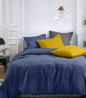 Parure de lit en Gaze de coton Bleu Marine