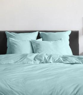 Housse de couette percale 200 fils turquoise